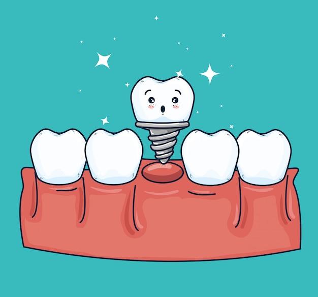 Tandprothese behandeling met medicamenteuze behandeling Gratis Vector