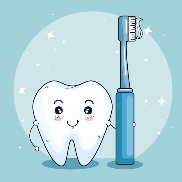 Tandverzorging geneeskunde met tand tandenborstel Gratis Vector