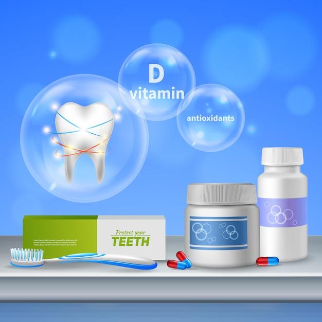 Tandverzorging mondhygiëne realistische samenstelling met bescherming van tanden behoud van gezond tandvlees antioxidanten vitaminen producten Gratis Vector
