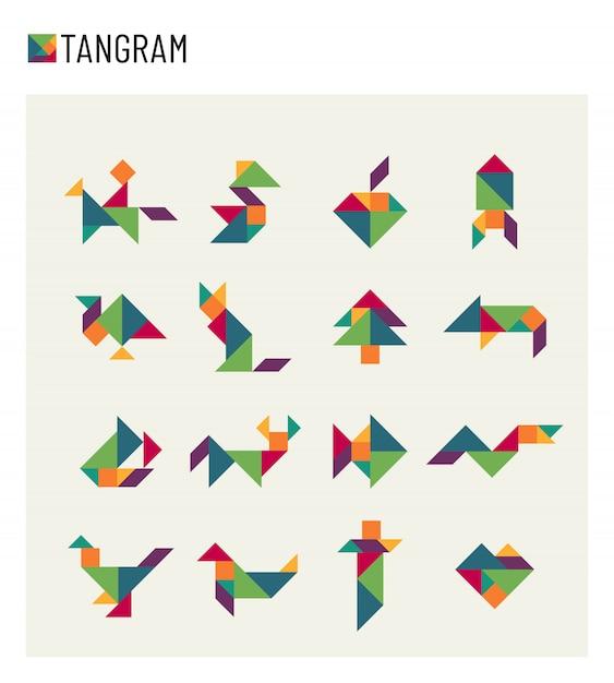 Tangram kinderen hersenspel snijden transformatie puzzel set Premium Vector