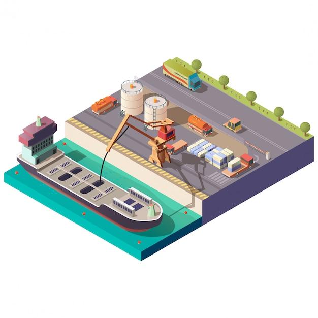 Tankschip laden in isometrische haven Gratis Vector