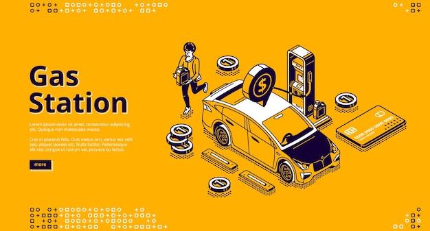 Tankstation banner. aankoop van benzine of benzine voor auto's op tankstation. Gratis Vector