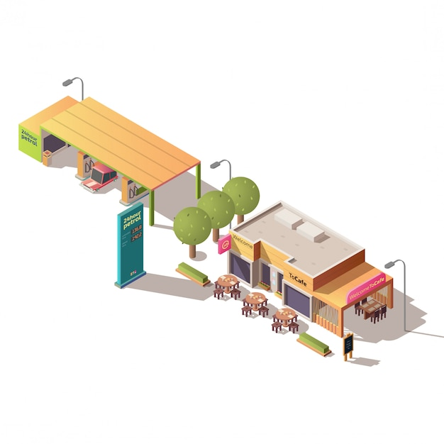 Tankstation en road cafe isometrisch Gratis Vector