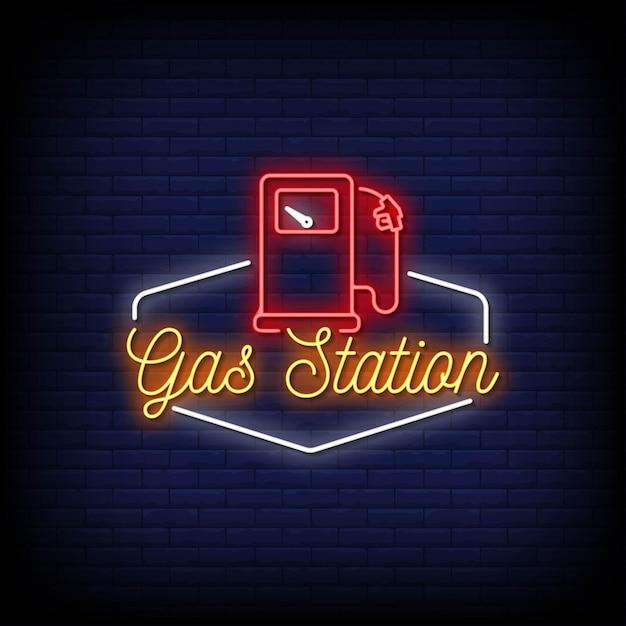 Tankstation logo neon signs style text Premium Vector