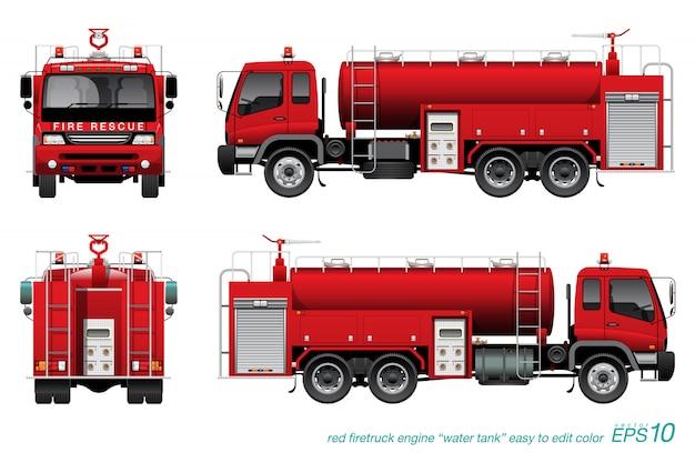 Tankwagen brandweerwagen Premium Vector