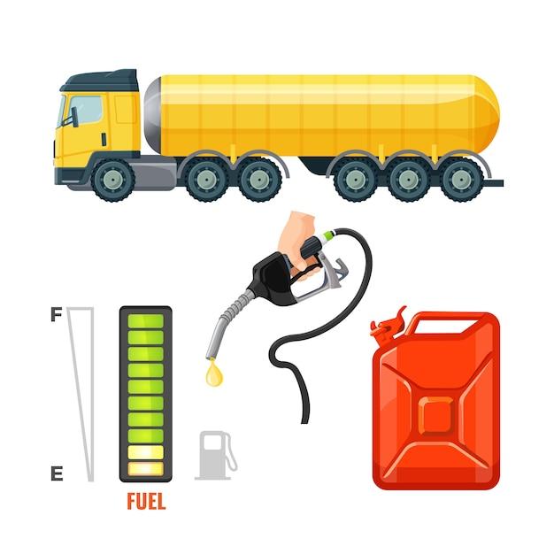 Tankwagenpictogrammen, benzinemateriaal en benodigdheden. Premium Vector