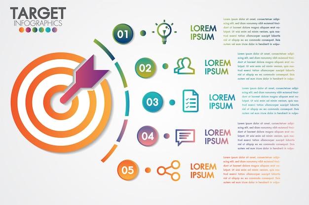 Target infographics 5 stappen of opties zakelijke ontwerp vector en marketing met elementen Premium Vector