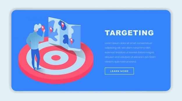 Targeting isometrische bestemmingspagina sjabloon Premium Vector