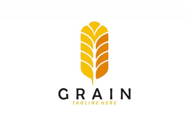 Tarwe graan logo vector geïsoleerd Premium Vector