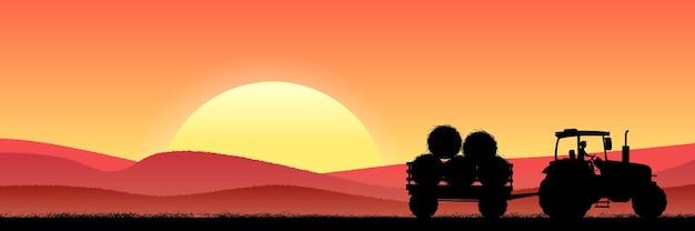 Tarweveld 's nachts met tractor en hooi Premium Vector