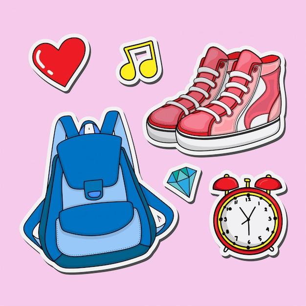 Tas en schoenen stickers set Premium Vector