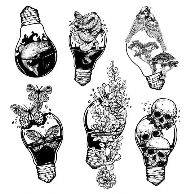 Tattoo art gloeilamp vintage die verschillende dingen hand tekenen bevat Premium Vector