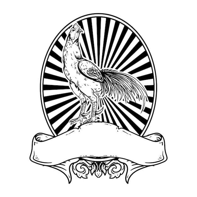 Tattoo en t-shirt ontwerp zwart-wit hand getekende illustratie haan vintage logo Premium Vector