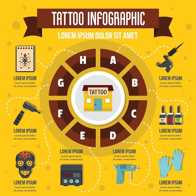 Tattoo infographic, vlakke stijl Premium Vector