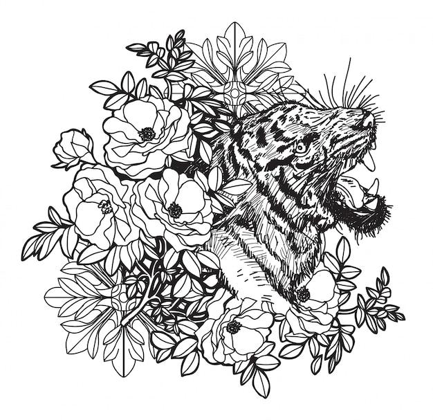 Tattoo kunst tijger hand tekenen en schets zwart en wit met lijn kunst illustratie geïsoleerd Premium Vector