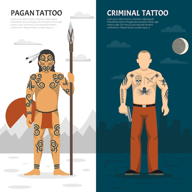Tattoo studio verticale banner set Gratis Vector