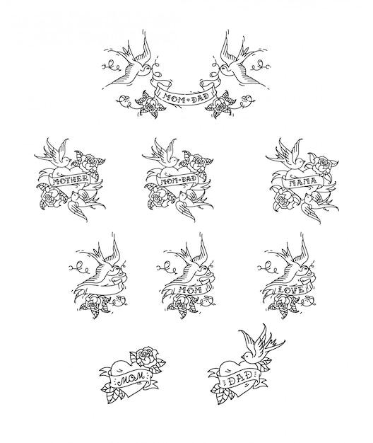 Tattoo zwaluwen met de inscriptie van moeder vader op tape. vector illustratie. tatoeage, amerikaanse oude school. Premium Vector