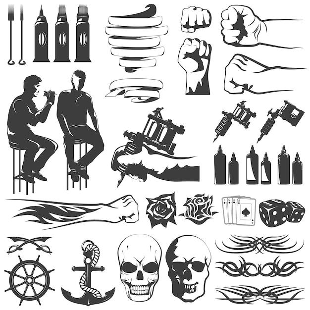 Tattoo zwart witte pictogrammen instellen Gratis Vector
