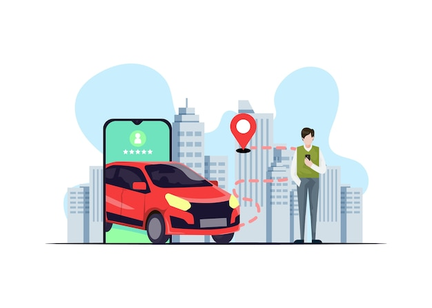Taxi app concept met illustraties Gratis Vector