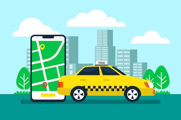 Taxi app concept met mobiele telefoon en stad Gratis Vector