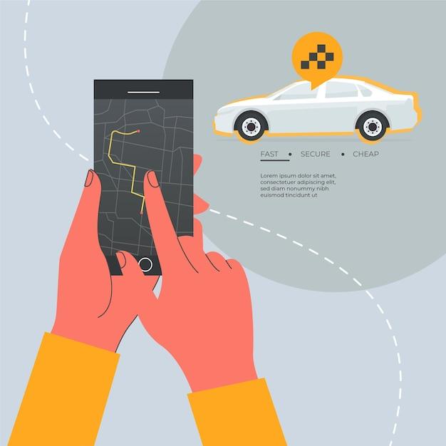 Taxi app concept plat ontwerp Gratis Vector