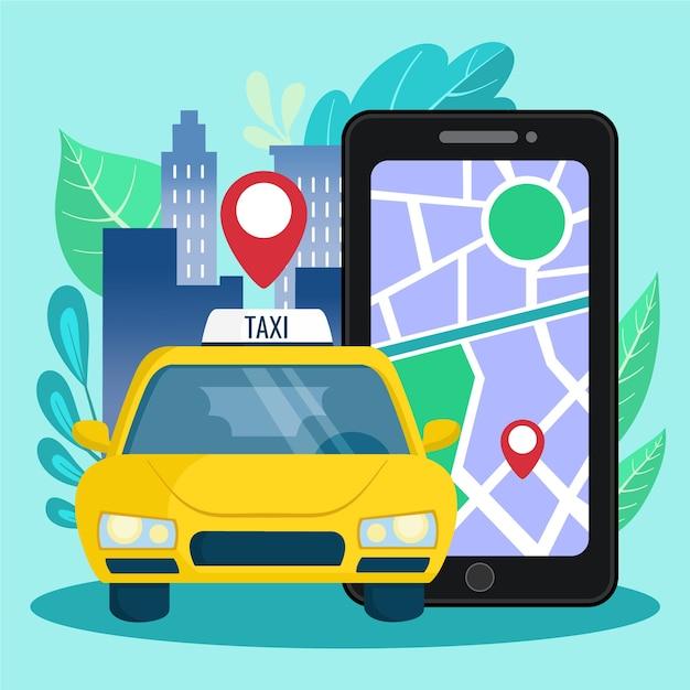 Taxi app concept Gratis Vector
