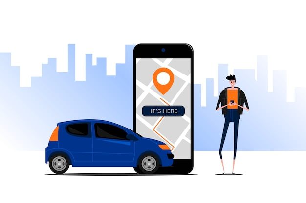Taxi app-interface concept Gratis Vector