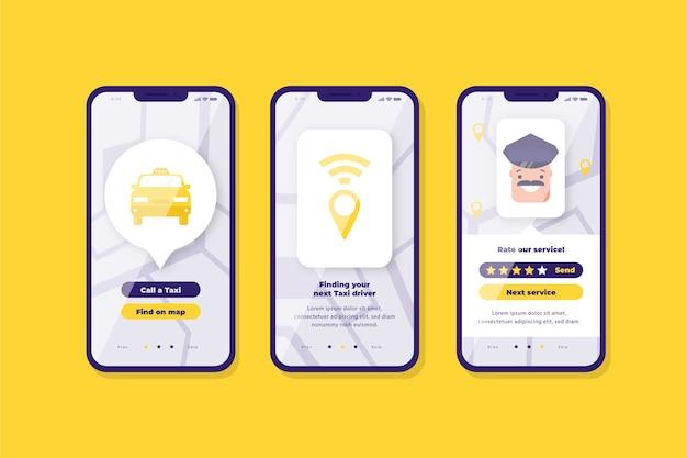 Taxi app-interface Gratis Vector