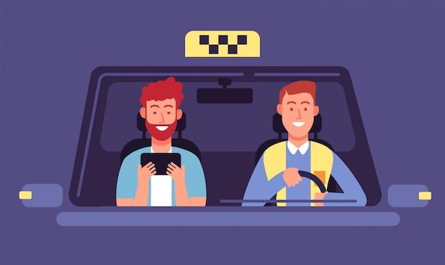 Taxi-app. klant en taxichauffeur in cabine. taxi boeking smartphone applicatie vector achtergrond Premium Vector