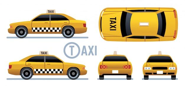 Taxi auto. gele cabine zicht vanaf zijkant, voorkant, achterkant en bovenkant. cartoon stadstaxi set Premium Vector