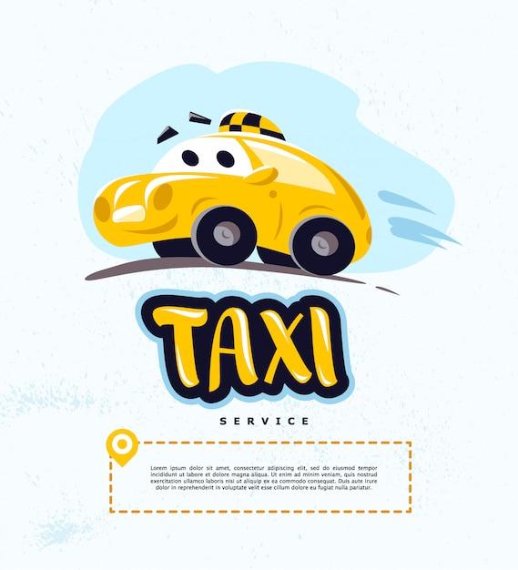 Taxi auto illustratie op witte achtergrond. cartoon stijl. grappige schattige rijdende auto. taxi service logo sjabloon. Premium Vector