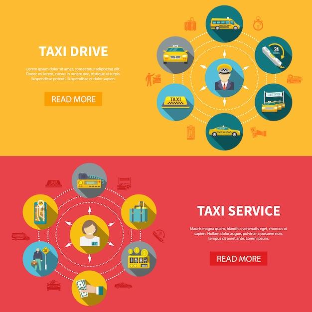 Taxi bedrijf horizontale banners Gratis Vector