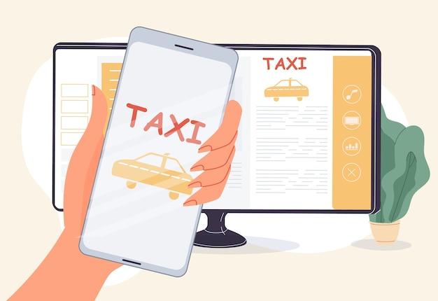 Taxi huren online service. cab-boeking mobiele applicatie-interface. app voor autodelen. vrouw hand met smartphone in de buurt van computermonitor. auto modelkeuze, auto kaartnavigatie Premium Vector