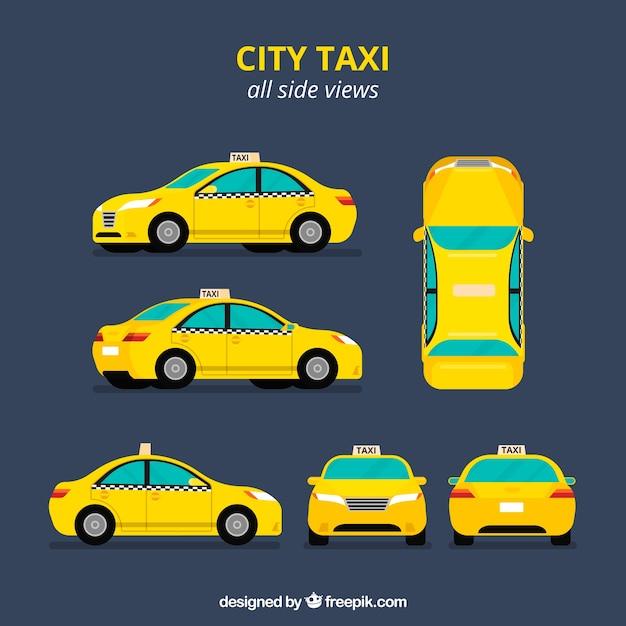 Taxi in zes verschillende uitzichten Premium Vector