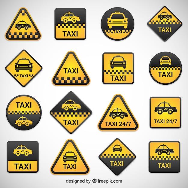 Taxi labels set Gratis Vector