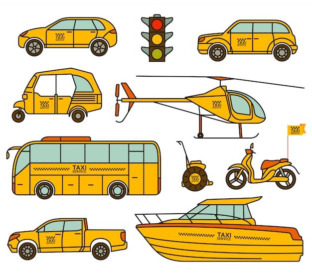 Taxi lijn pictogrammen instellen. illustratie. Premium Vector
