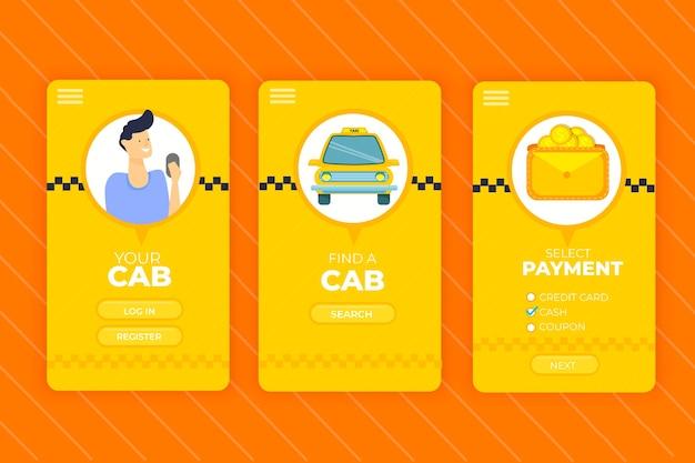 Taxi mobiele app-interfacedienst Gratis Vector