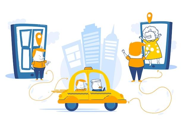 Taxi mobiele app-service in een stad Gratis Vector
