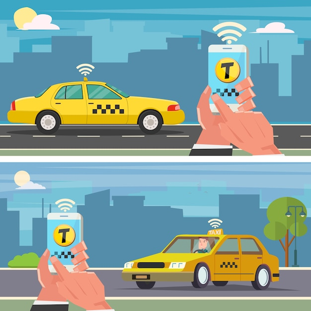 Taxi reserveren met mobiele app Premium Vector