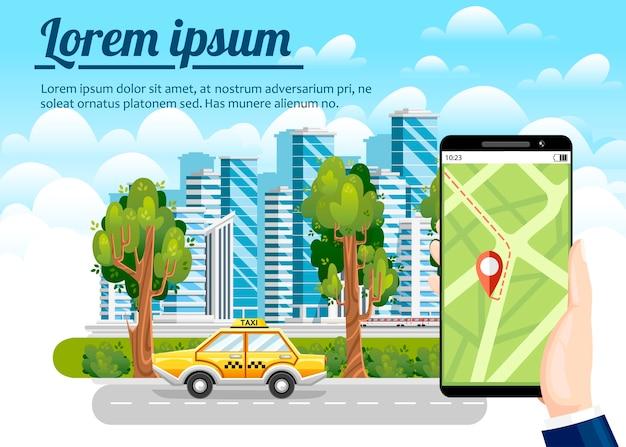 Taxi reserveren via mobiele app. stadswolkenkrabbers, vliegtuig, luchtballon en auto's op de achtergrond. . modern stadsconcept met plaats voor uw tekst. Premium Vector