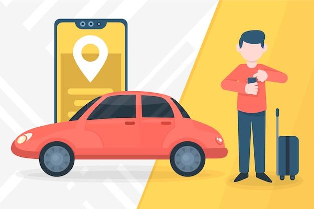 Taxi service app concept Gratis Vector