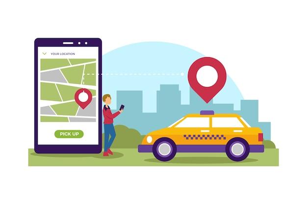 Taxi service app stijl Gratis Vector
