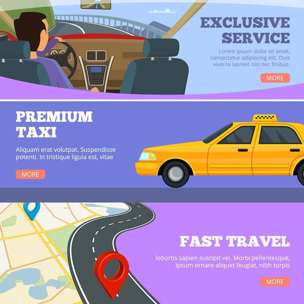 Taxi service banners. gele dienst auto's bestuurder in premium auto wegenkaart flyers reclame sjabloon Premium Vector