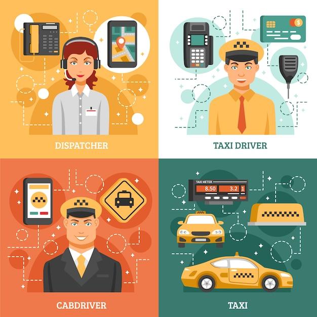 Taxi service ontwerpconcept Gratis Vector