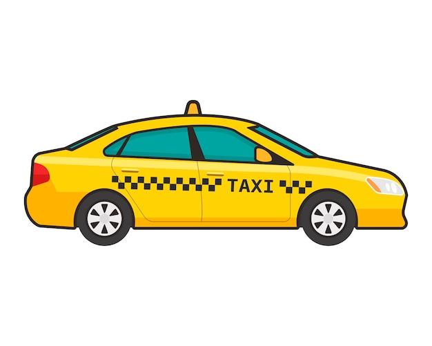 Taxiauto in vlakke stijl Premium Vector