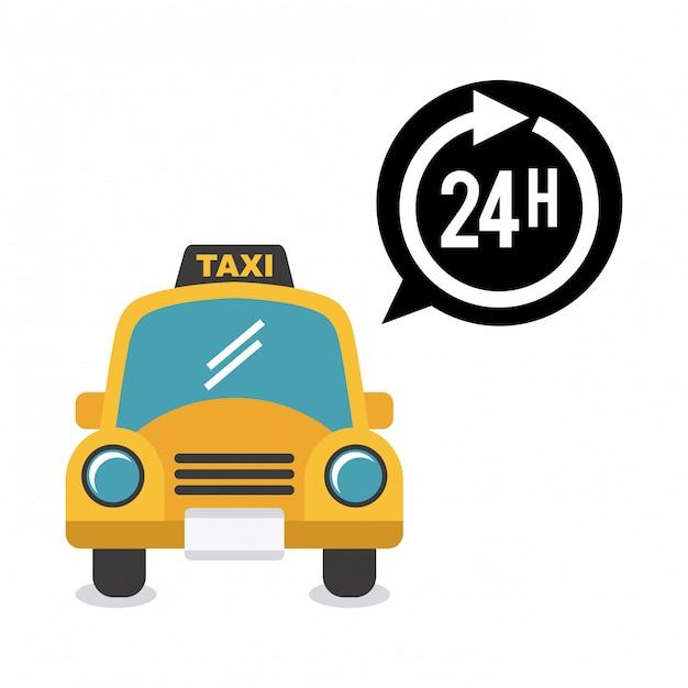 Taxiontwerp over witte vectorillustratie als achtergrond Premium Vector