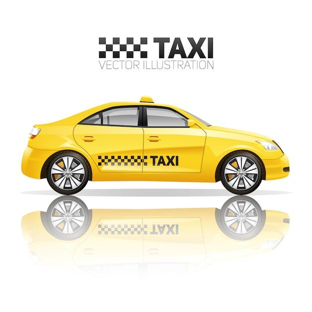 Taxiposter met realistische gele openbare dienstauto met bezinning Gratis Vector