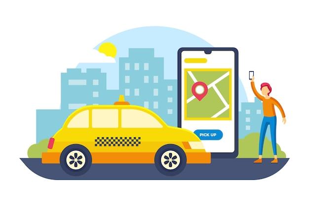 Taxiservice-app Gratis Vector