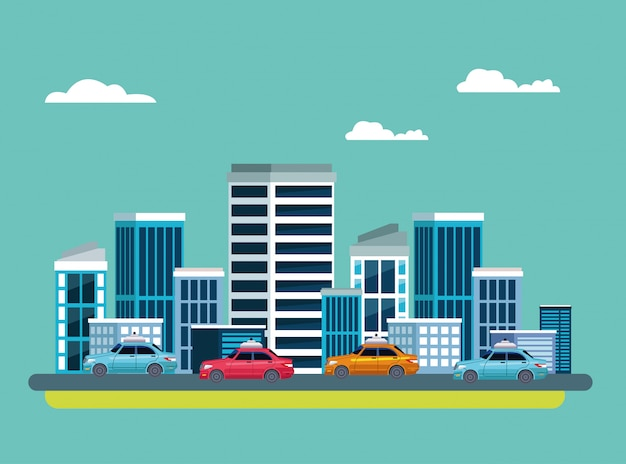 Taxiservice in stadsgezicht pictogram Gratis Vector