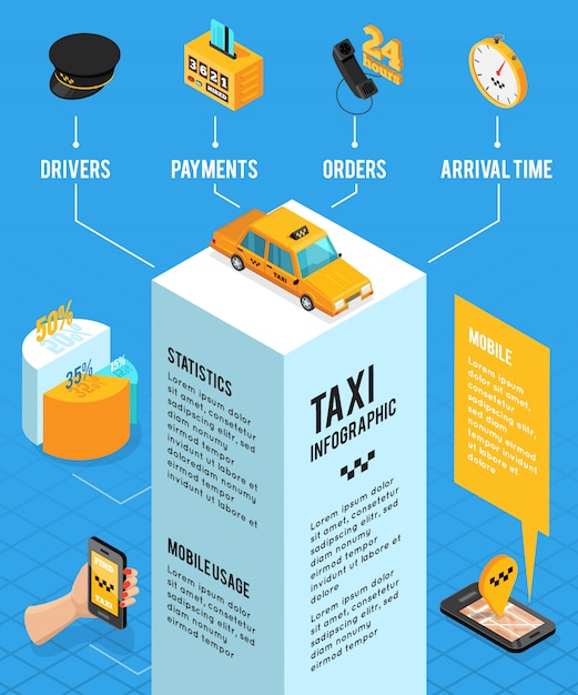 Taxiservice isometrische infographics lay-out Gratis Vector